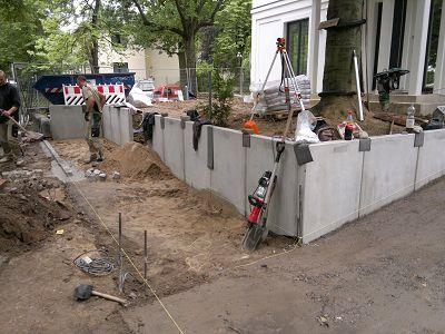 Mauern Palisaden Boeschungssicherung l-steine setzen