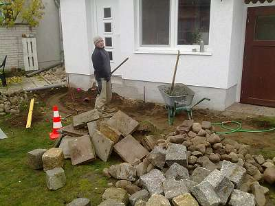 Pflasterarbeiten Betonstein Garageneinfahrt pflastern