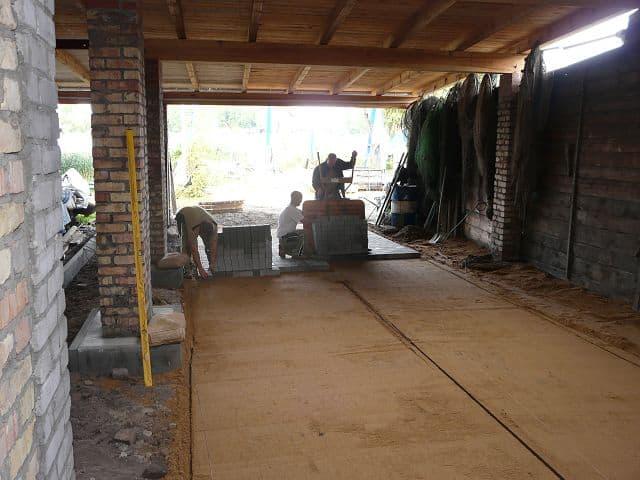 Pflasterarbeiten Betonstein Pflasterarbeiten Bootshalle