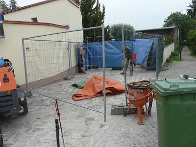 Pflasterarbeiten Naturstein Granit Einfahrt reinigen