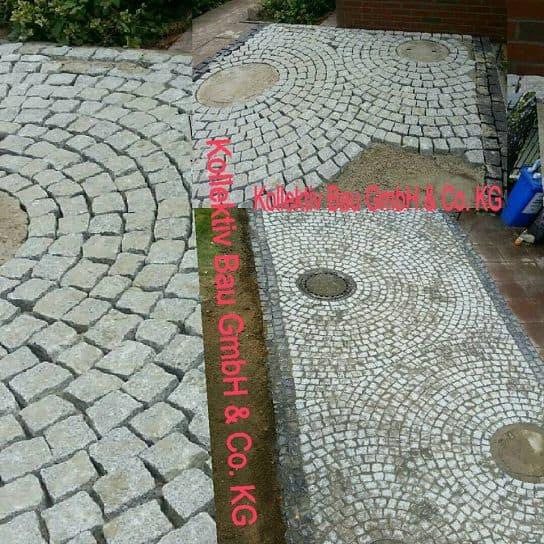 Pflasterarbeiten Naturstein Pflasterkreise aus Granit